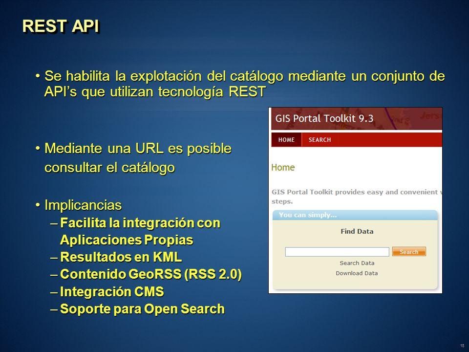 18 Se habilita la explotación del catálogo mediante un conjunto de APIs que utilizan tecnología RESTSe habilita la explotación del catálogo mediante u