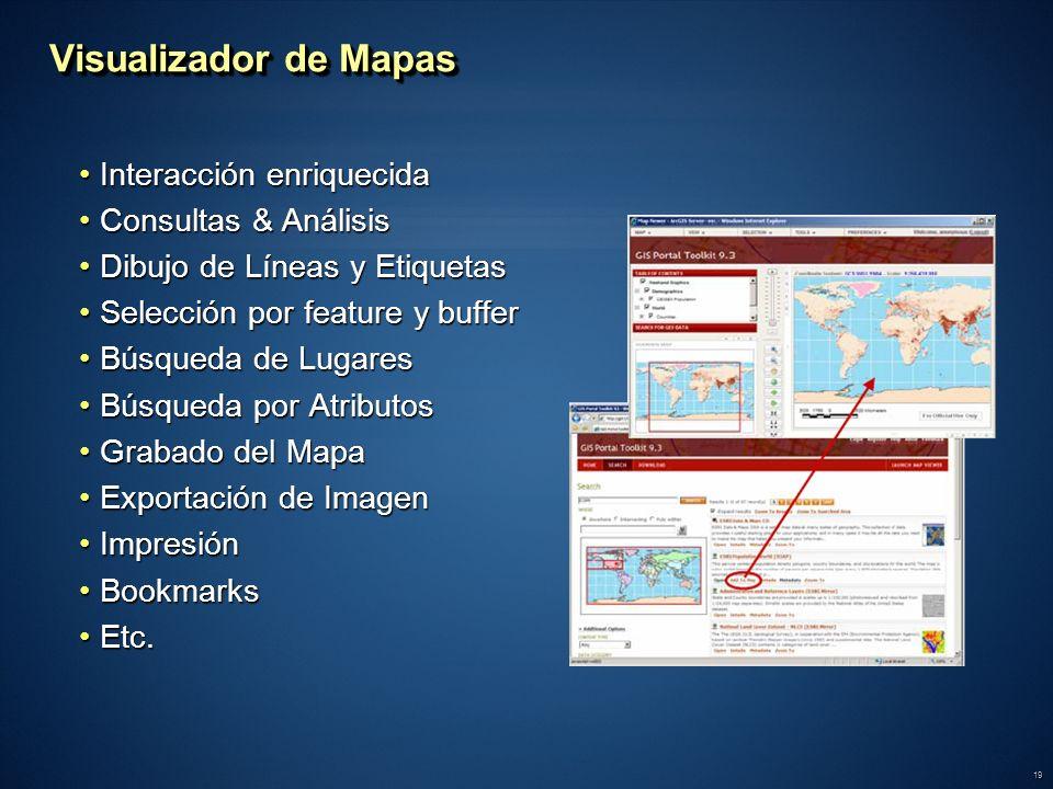 19 Visualizador de Mapas Interacción enriquecidaInteracción enriquecida Consultas & AnálisisConsultas & Análisis Dibujo de Líneas y EtiquetasDibujo de