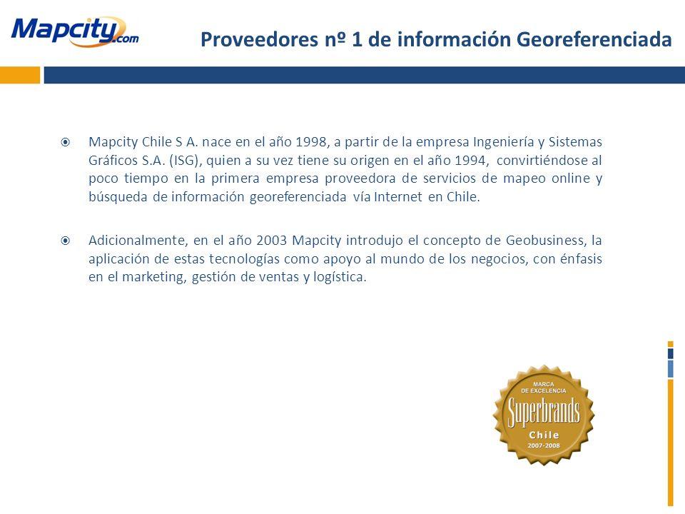 Mapcity Chile S A. nace en el año 1998, a partir de la empresa Ingeniería y Sistemas Gráficos S.A. (ISG), quien a su vez tiene su origen en el año 199
