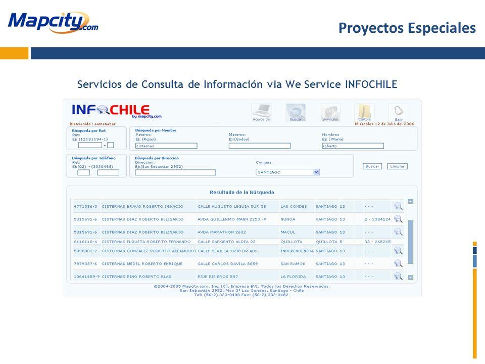 Servicios de Consulta de Información via We Service INFOCHILE Proyectos Especiales