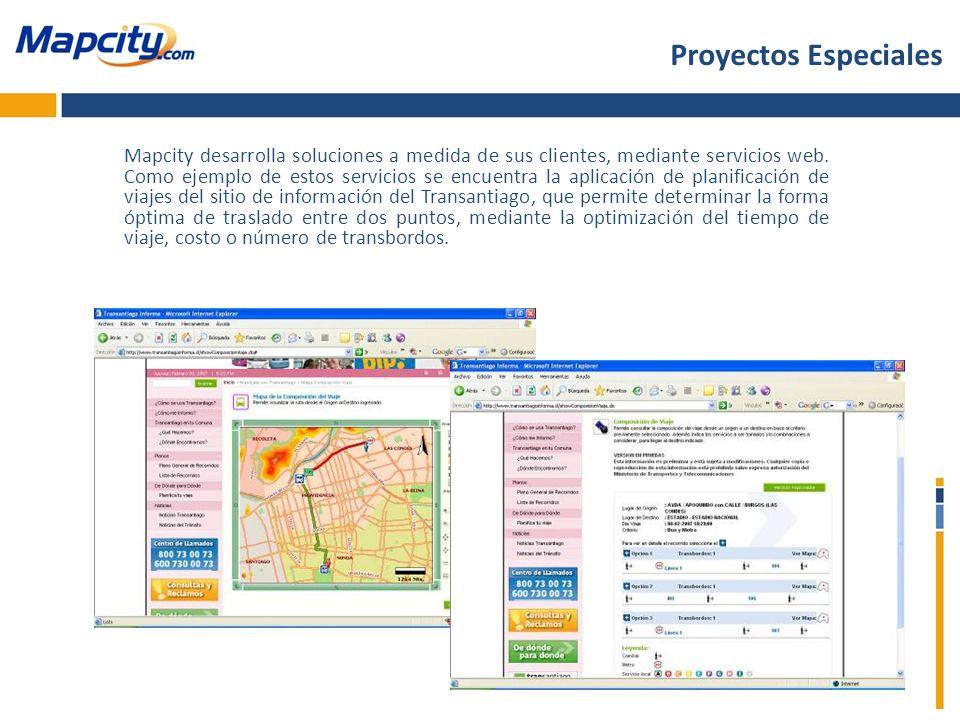 Mapcity desarrolla soluciones a medida de sus clientes, mediante servicios web. Como ejemplo de estos servicios se encuentra la aplicación de planific