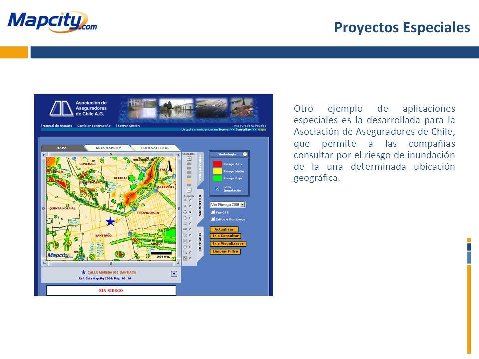 Otro ejemplo de aplicaciones especiales es la desarrollada para la Asociación de Aseguradores de Chile, que permite a las compañías consultar por el r