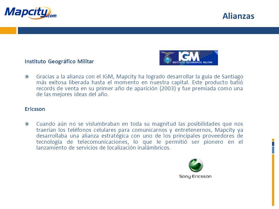Instituto Geográfico Militar Gracias a la alianza con el IGM, Mapcity ha logrado desarrollar la guía de Santiago más exitosa liberada hasta el momento