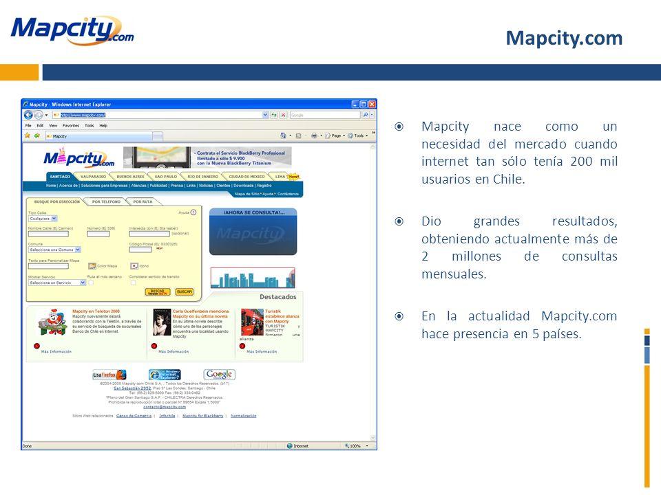 Mapcity.com Mapcity nace como un necesidad del mercado cuando internet tan sólo tenía 200 mil usuarios en Chile. Dio grandes resultados, obteniendo ac