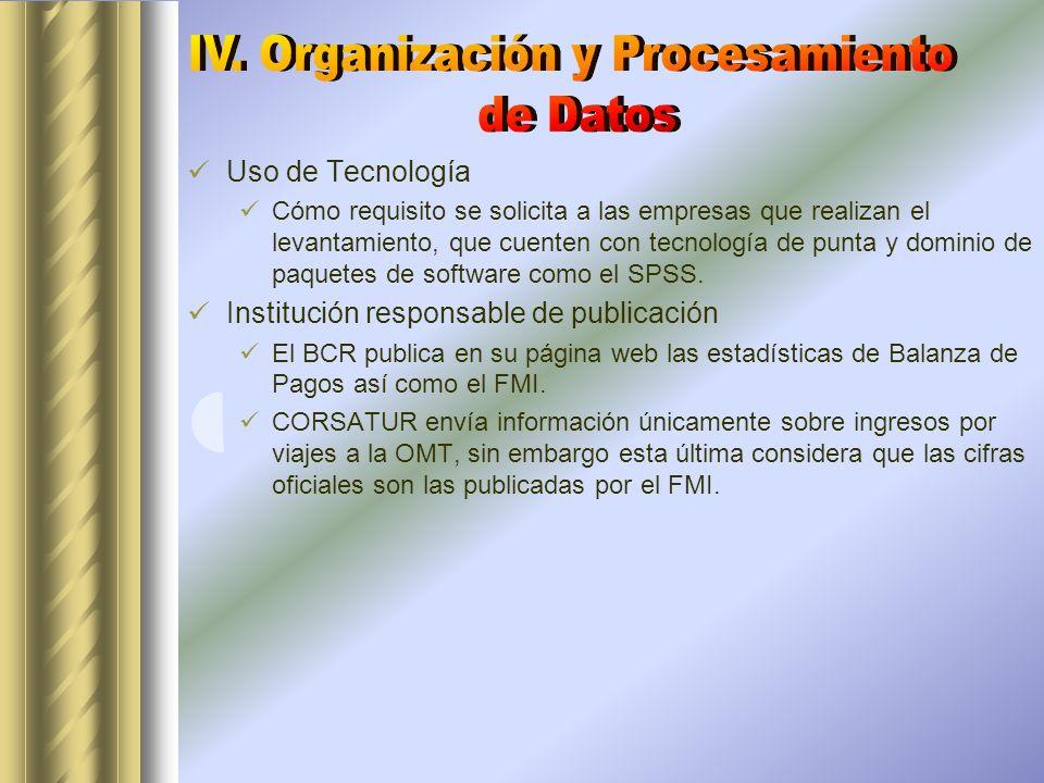 Uso de Tecnología Cómo requisito se solicita a las empresas que realizan el levantamiento, que cuenten con tecnología de punta y dominio de paquetes de software como el SPSS.