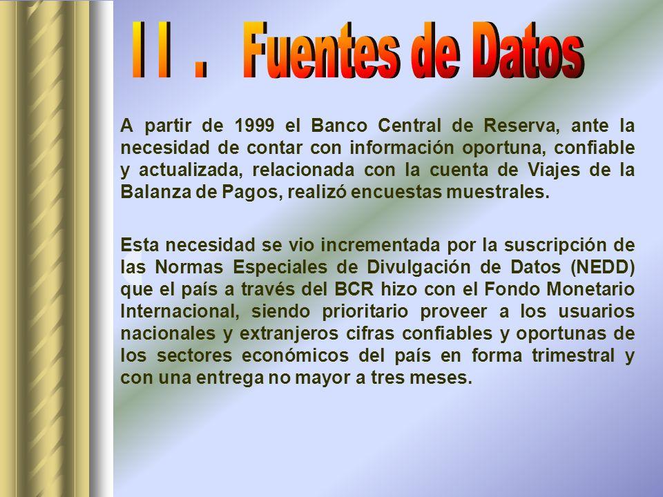 A partir de 1999 el Banco Central de Reserva, ante la necesidad de contar con información oportuna, confiable y actualizada, relacionada con la cuenta de Viajes de la Balanza de Pagos, realizó encuestas muestrales.