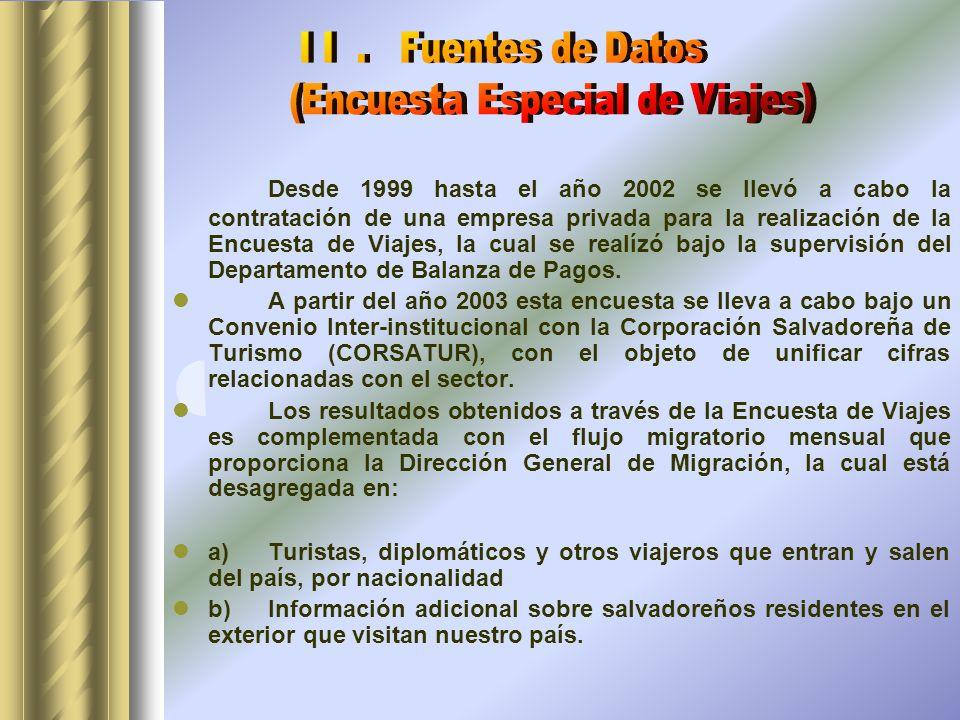 Desde 1999 hasta el año 2002 se llevó a cabo la contratación de una empresa privada para la realización de la Encuesta de Viajes, la cual se realízó bajo la supervisión del Departamento de Balanza de Pagos.