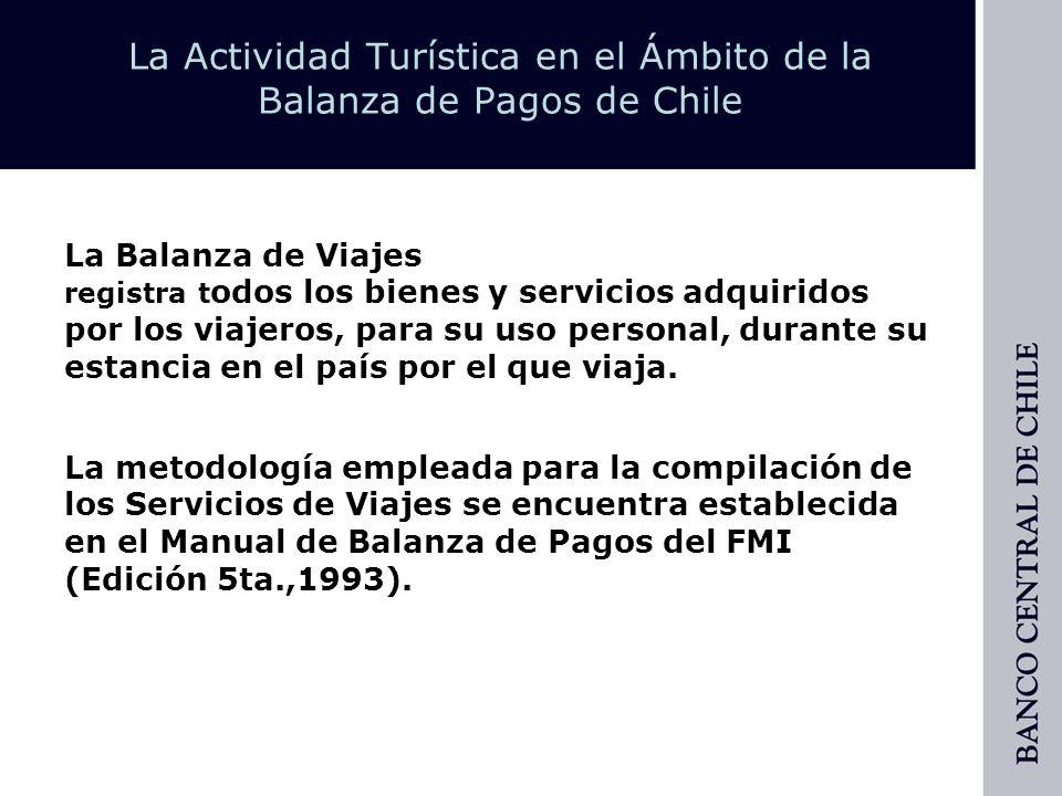 La Actividad Turística en el Ámbito de la Balanza de Pagos de Chile » Viajeros: Es toda persona que permanece menos de un año en un país del que no es residente.