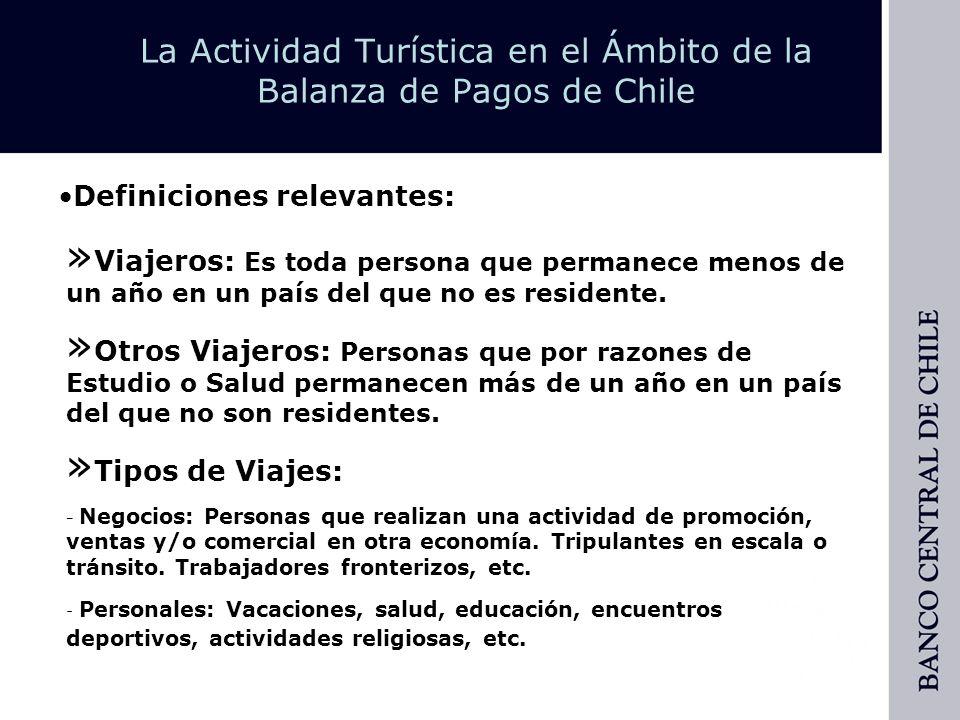 La Actividad Turística en el Ámbito de la Balanza de Pagos de Chile Banco Central de Chile Departamento de Balanza de Pagos Waldo Oyaneder Menares 56-2-6702210 woyanede@bcentral.cl