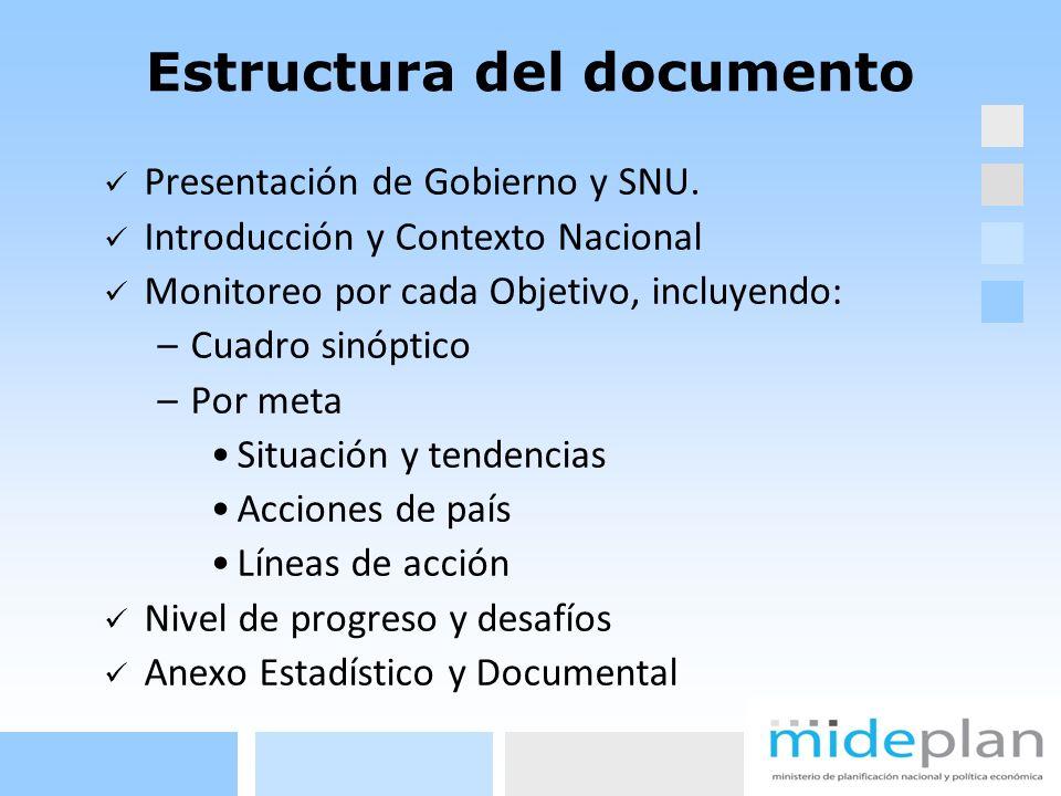 Estructura del documento Presentación de Gobierno y SNU. Introducción y Contexto Nacional Monitoreo por cada Objetivo, incluyendo: –Cuadro sinóptico –