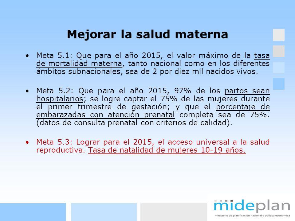 Mejorar la salud materna Meta 5.1: Que para el año 2015, el valor máximo de la tasa de mortalidad materna, tanto nacional como en los diferentes ámbit