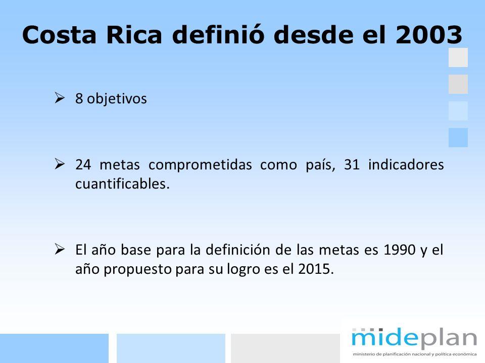 Costa Rica definió desde el 2003 8 objetivos 24 metas comprometidas como país, 31 indicadores cuantificables. El año base para la definición de las me