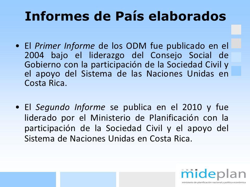 Informes de País elaborados El Primer Informe de los ODM fue publicado en el 2004 bajo el liderazgo del Consejo Social de Gobierno con la participació