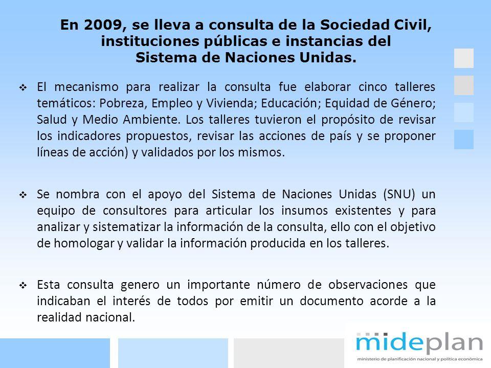 En 2009, se lleva a consulta de la Sociedad Civil, instituciones públicas e instancias del Sistema de Naciones Unidas. El mecanismo para realizar la c