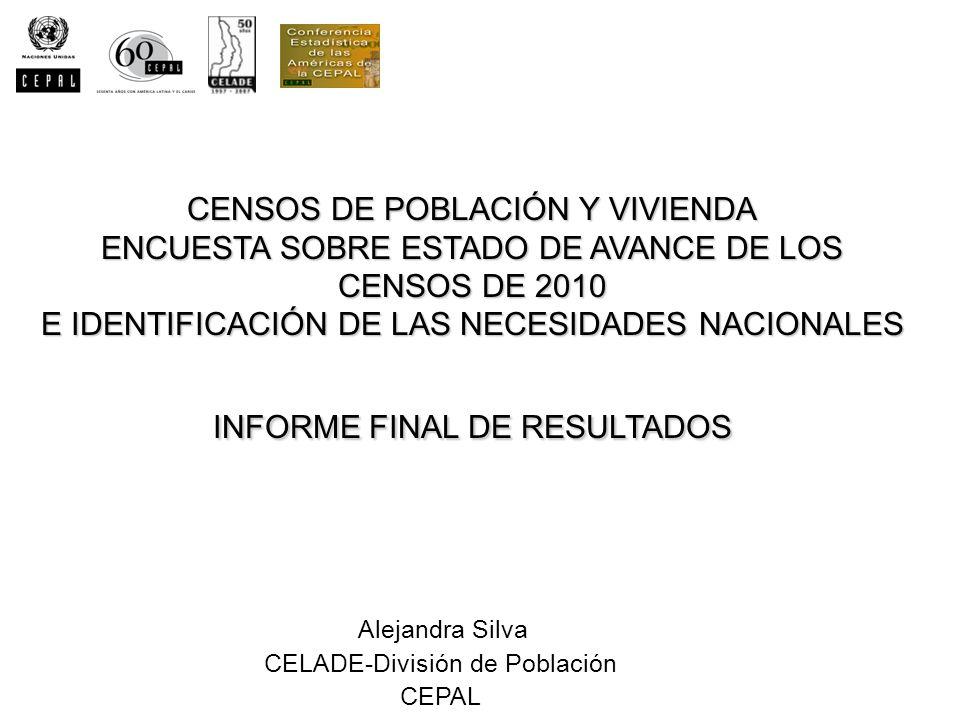 CENSOS DE POBLACIÓN Y VIVIENDA ENCUESTA SOBRE ESTADO DE AVANCE DE LOS CENSOS DE 2010 E IDENTIFICACIÓN DE LAS NECESIDADES NACIONALES INFORME FINAL DE R