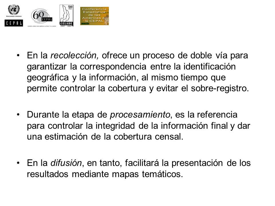 En la recolección, ofrece un proceso de doble vía para garantizar la correspondencia entre la identificación geográfica y la información, al mismo tie