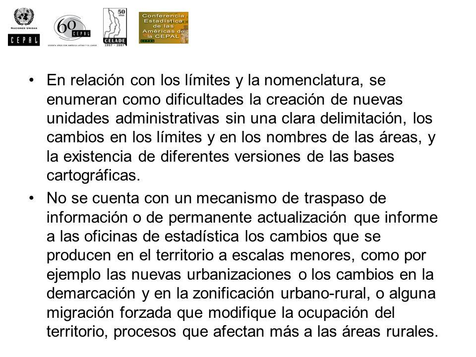 En relación con los límites y la nomenclatura, se enumeran como dificultades la creación de nuevas unidades administrativas sin una clara delimitación
