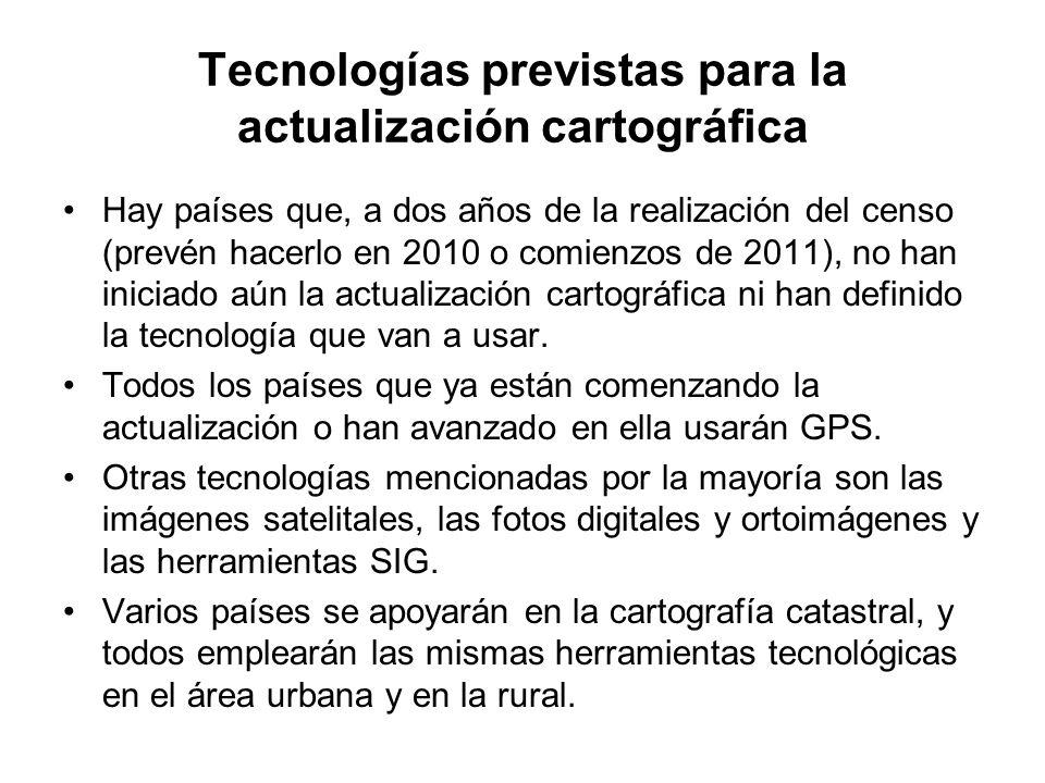 Tecnologías previstas para la actualización cartográfica Hay países que, a dos años de la realización del censo (prevén hacerlo en 2010 o comienzos de