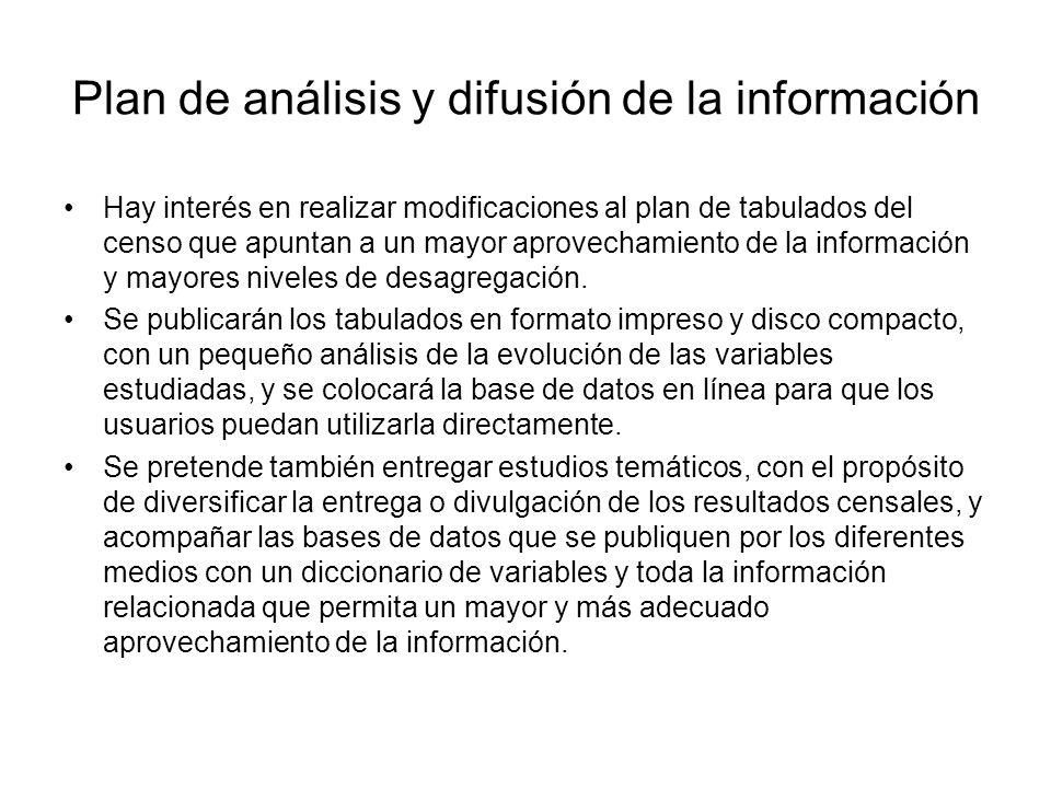 Plan de análisis y difusión de la información Hay interés en realizar modificaciones al plan de tabulados del censo que apuntan a un mayor aprovechami