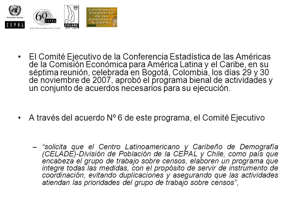El Comité Ejecutivo de la Conferencia Estadística de las Américas de la Comisión Económica para América Latina y el Caribe, en su séptima reunión, cel