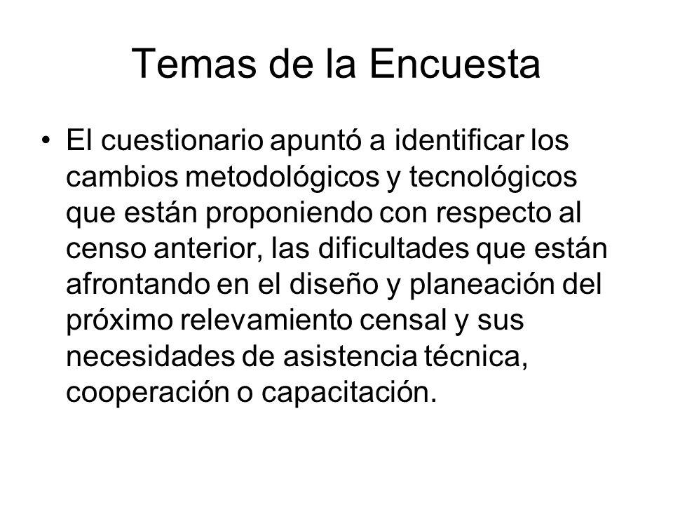 El cuestionario apuntó a identificar los cambios metodológicos y tecnológicos que están proponiendo con respecto al censo anterior, las dificultades q
