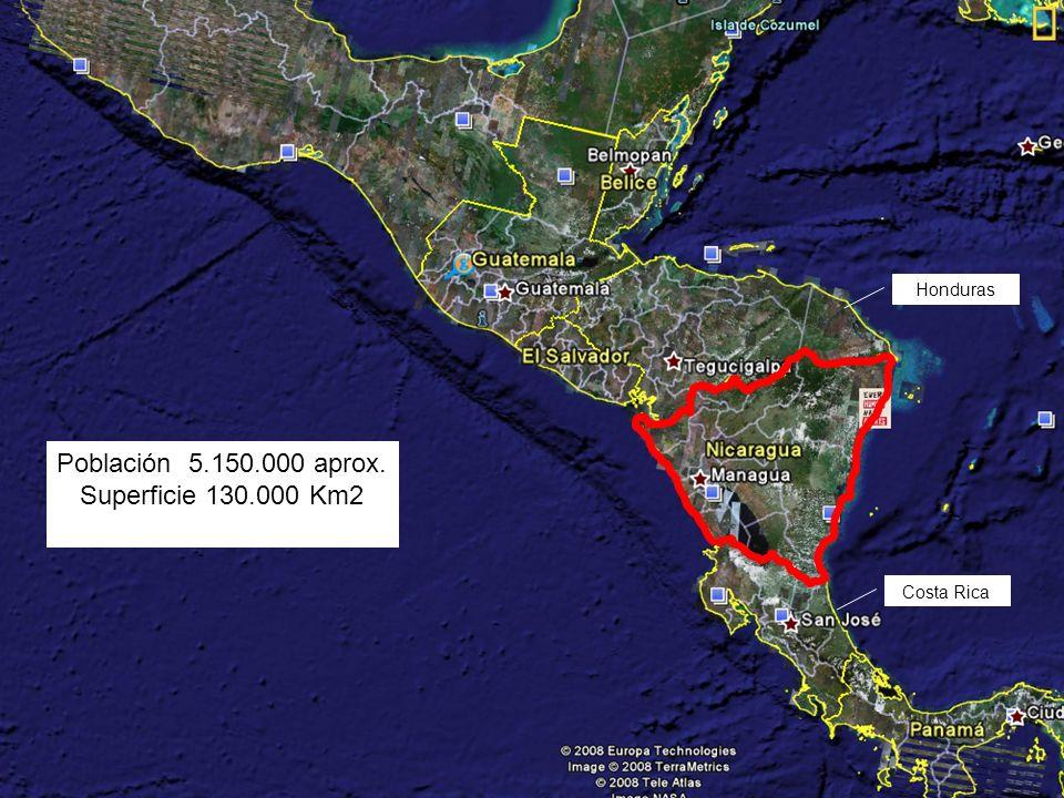 Población 5.150.000 aprox. Superficie 130.000 Km2 Costa Rica Honduras