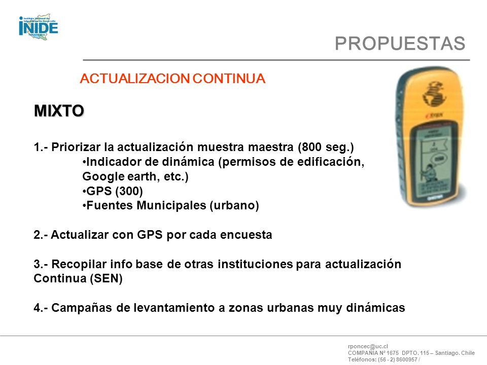PROPUESTAS rponcec@uc.cl COMPAÑÍA Nª 1675 DPTO. 115 – Santiago.