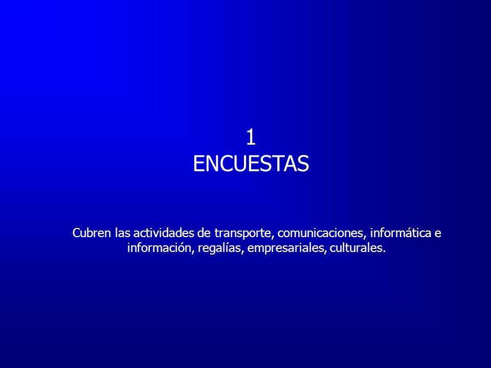 Bogotá (Central) 1 profesional Registros Administrativos Sucursales 11 apoyos técnicos Encuestas OPERATIVO PARA EL CALCULO DEL COMERCIO EXTERIOR DE SERVICIOS Encuestas DISTRIBUCION DE FORMATOS POR CORREO ELECTRONICO EN UN 95% Recepción de formatos Validación de datos Corrección de inconsistencias Digitación de datos en base foxpro Procesamiento de datos a través de programas foxpro.