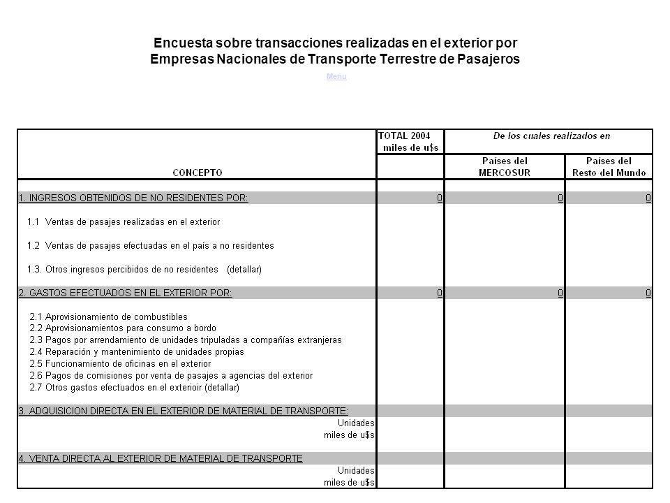 Encuesta sobre transacciones realizadas en el exterior por Empresas Nacionales de Transporte Terrestre de Pasajeros Menu Menu