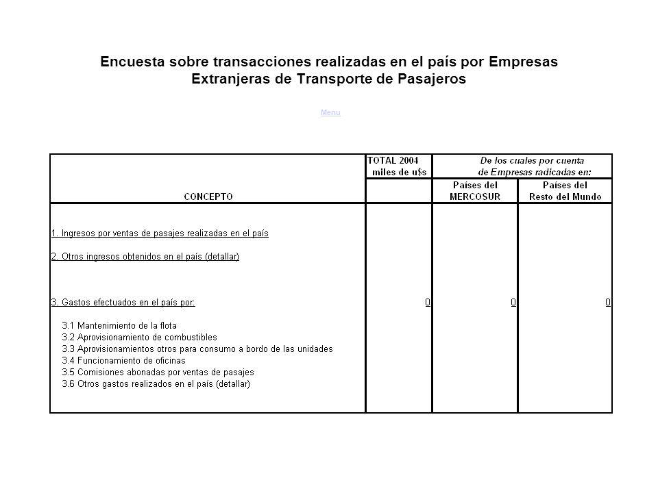 Encuesta sobre transacciones realizadas en el país por Empresas Extranjeras de Transporte de Pasajeros Menu Menu