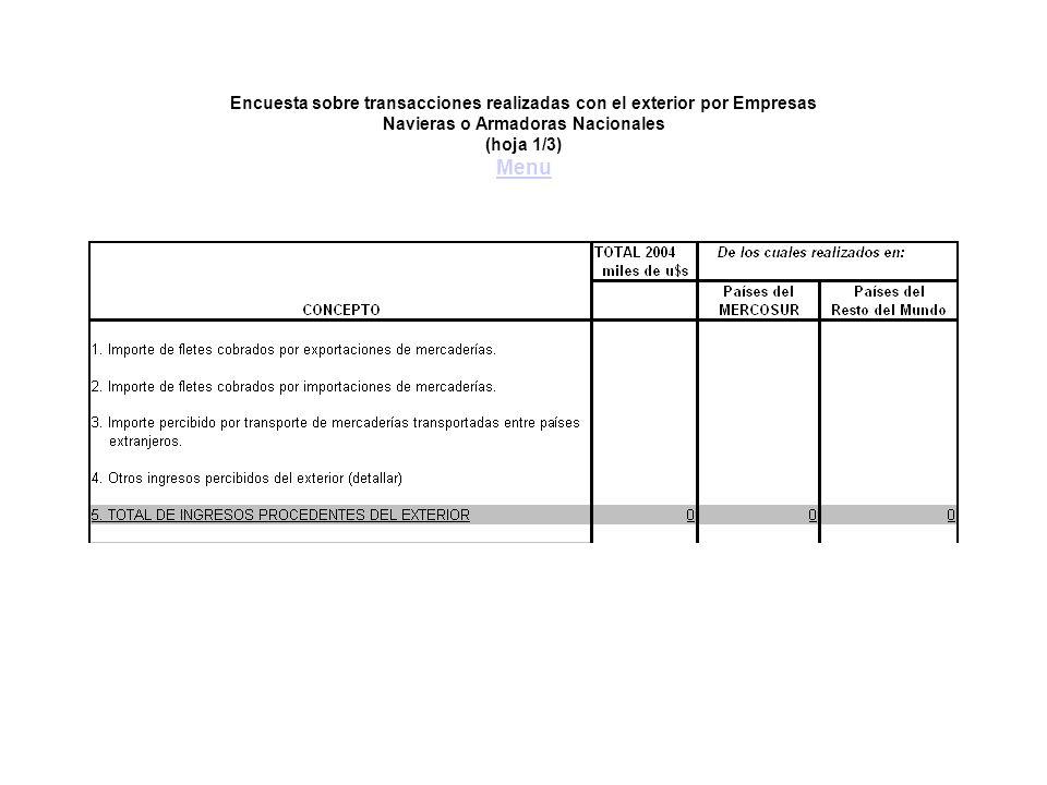 Encuesta sobre transacciones realizadas con el exterior por Empresas Navieras o Armadoras Nacionales (hoja 1/3) Menu Menu