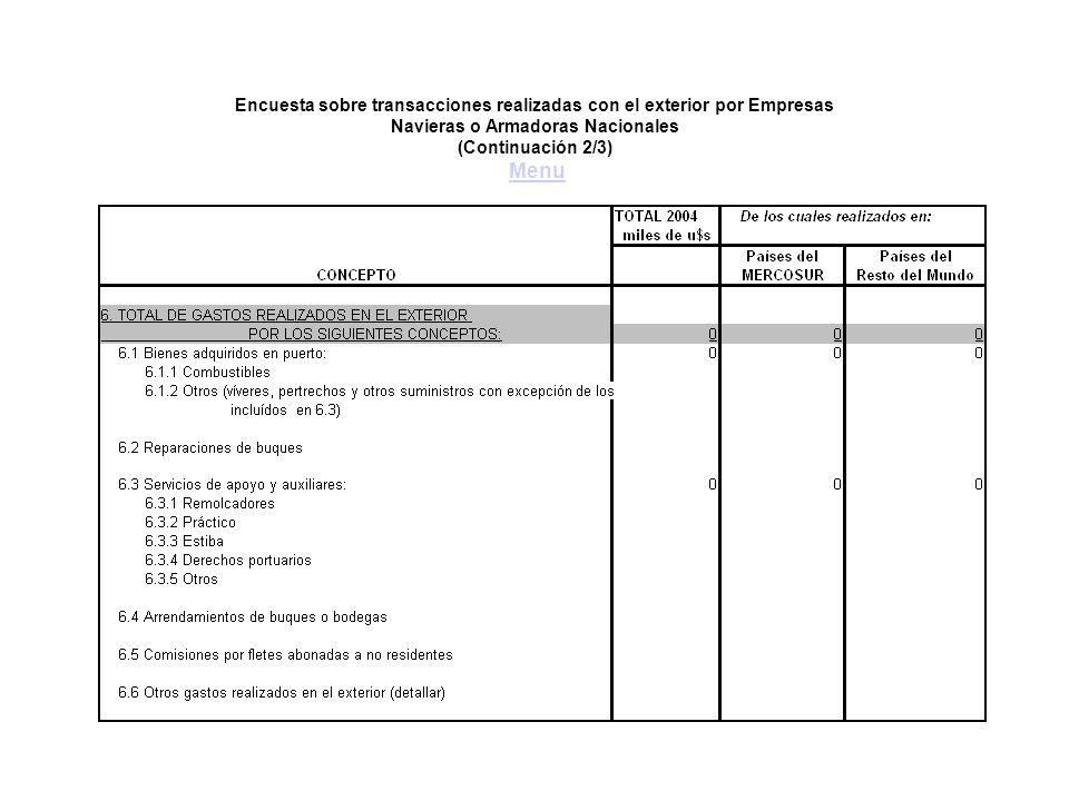 Encuesta sobre transacciones realizadas con el exterior por Empresas Navieras o Armadoras Nacionales (Continuación 2/3) MenuMenu