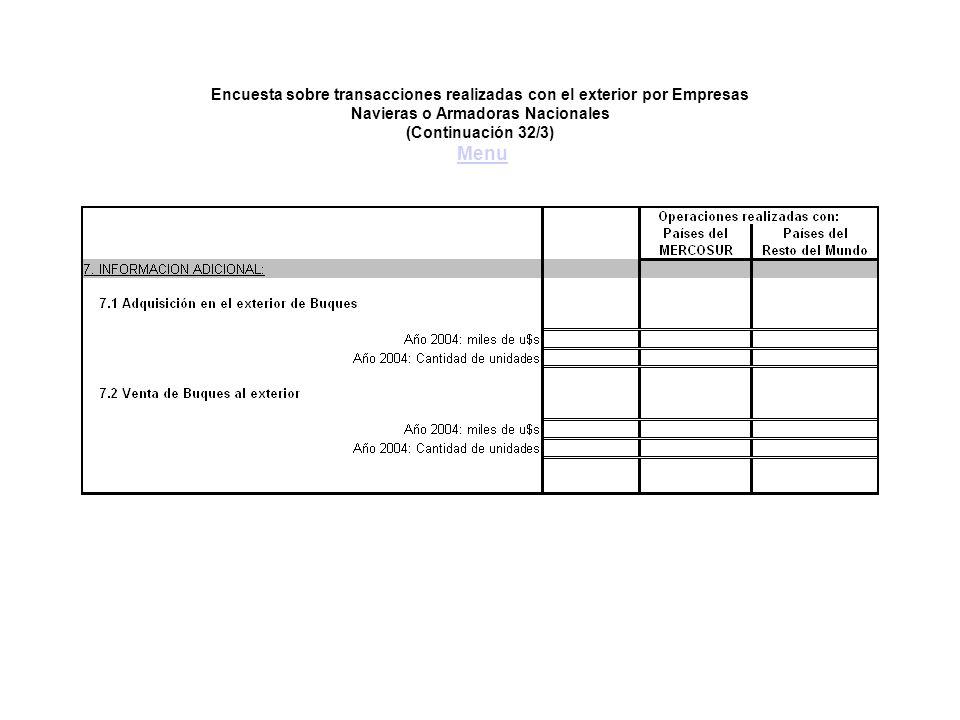 Encuesta sobre transacciones realizadas con el exterior por Empresas Navieras o Armadoras Nacionales (Continuación 32/3) MenuMenu