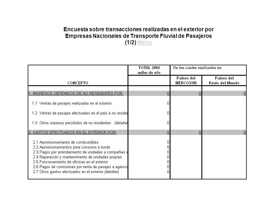 Encuesta sobre transacciones realizadas en el exterior por Empresas Nacionales de Transporte Fluvial de Pasajeros (1/2) MenuMenu
