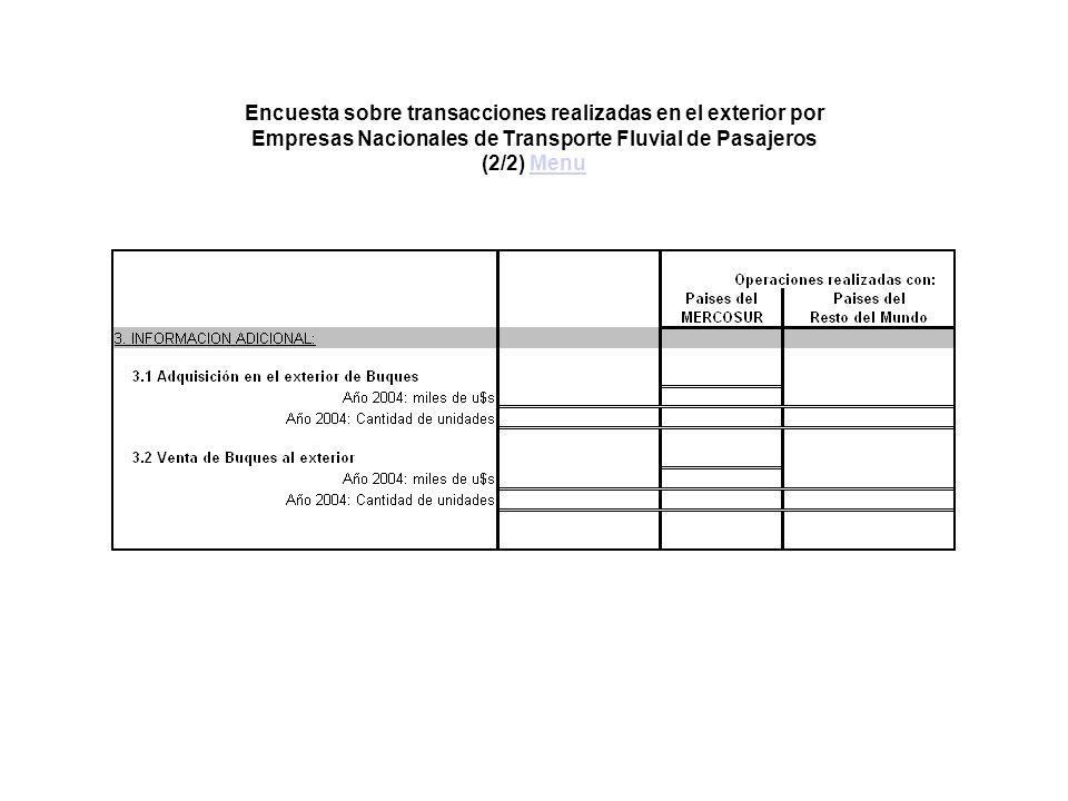 Encuesta sobre transacciones realizadas en el exterior por Empresas Nacionales de Transporte Fluvial de Pasajeros (2/2) MenuMenu