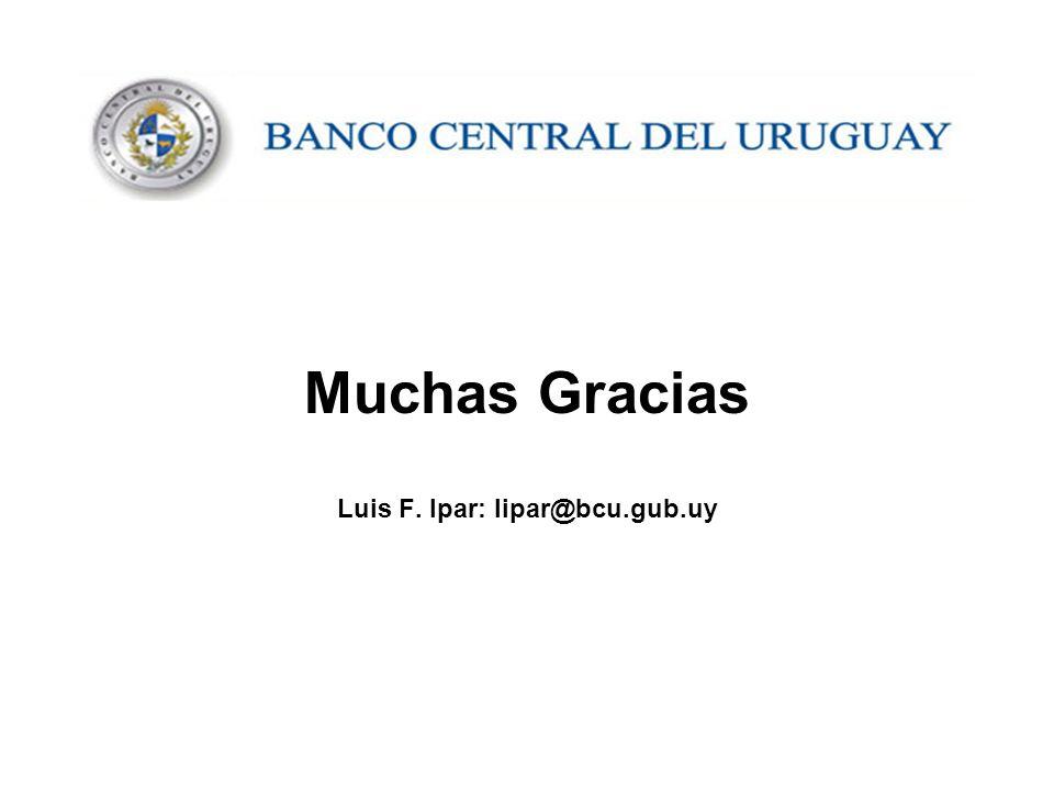 Muchas Gracias Luis F. Ipar: lipar@bcu.gub.uy