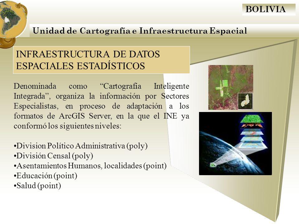 BOLIVIA Unidad de Cartografía e Infraestructura Espacial INFRAESTRUCTURA DE DATOS ESPACIALES ESTADÍSTICOS Denominada como Cartografía Inteligente Inte
