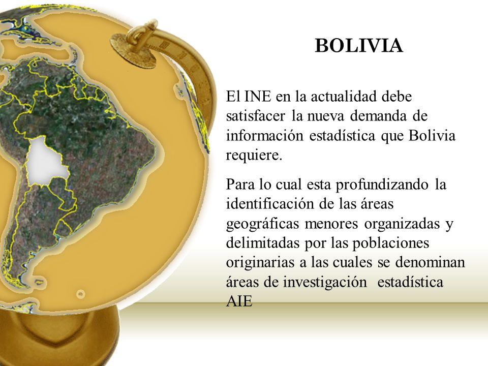 BOLIVIA El INE en la actualidad debe satisfacer la nueva demanda de información estadística que Bolivia requiere. Para lo cual esta profundizando la i