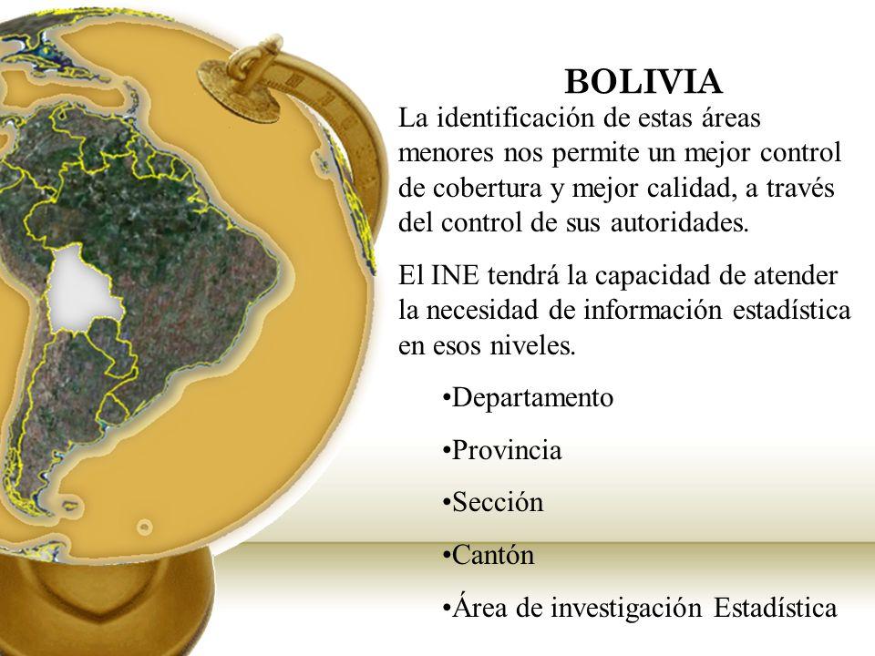 BOLIVIA La identificación de estas áreas menores nos permite un mejor control de cobertura y mejor calidad, a través del control de sus autoridades. E