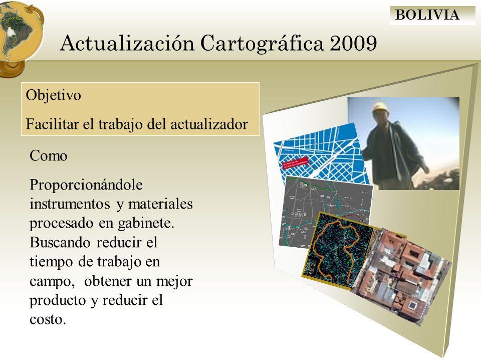 BOLIVIA Actualización Cartográfica 2009 Objetivo Facilitar el trabajo del actualizador Como Proporcionándole instrumentos y materiales procesado en ga