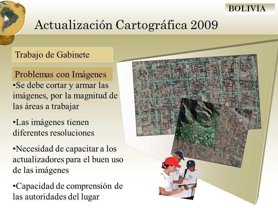 BOLIVIA Actualización Cartográfica 2009 Se debe cortar y armar las imágenes, por la magnitud de las áreas a trabajar Las imágenes tienen diferentes re