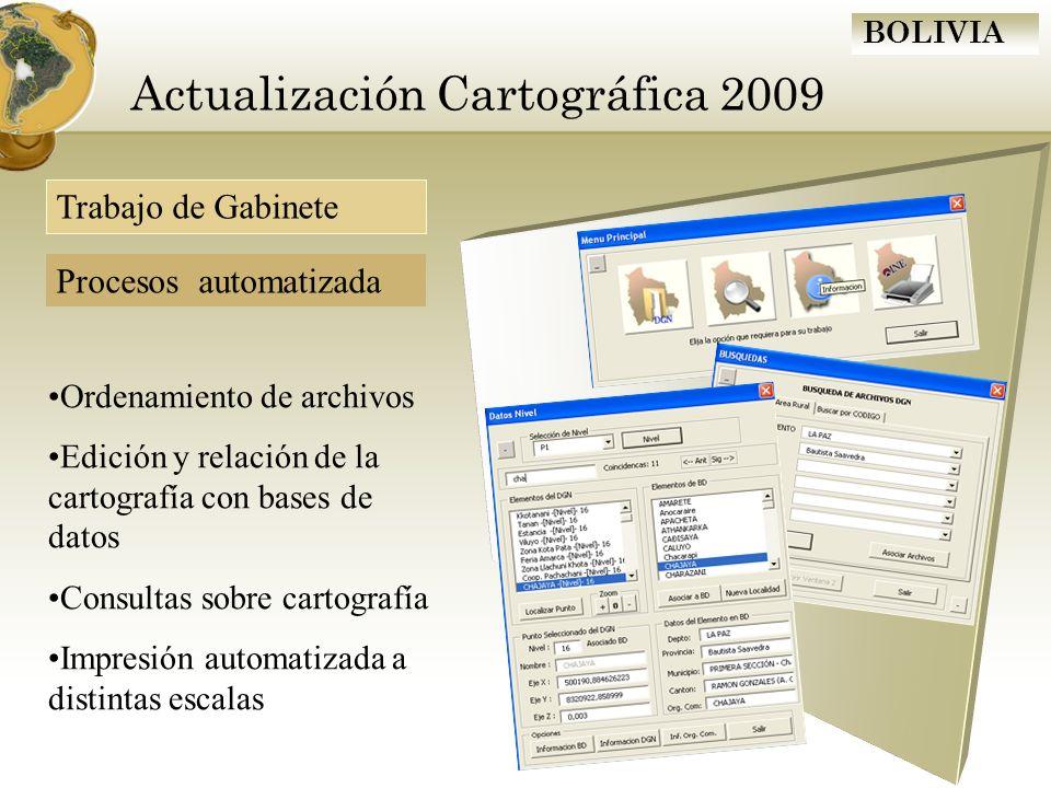 BOLIVIA Actualización Cartográfica 2009 Ordenamiento de archivos Edición y relación de la cartografía con bases de datos Consultas sobre cartografía I
