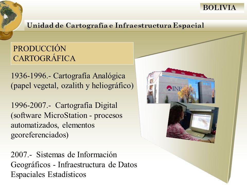 BOLIVIA Unidad de Cartografía e Infraestructura Espacial PRODUCCIÓN CARTOGRÁFICA 1936-1996.- Cartografía Analógica (papel vegetal, ozalith y heliográf