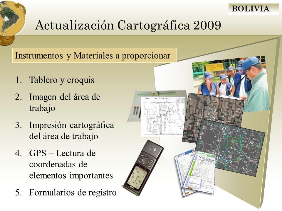 BOLIVIA Actualización Cartográfica 2009 Instrumentos y Materiales a proporcionar 1.Tablero y croquis 2.Imagen del área de trabajo 3.Impresión cartográ