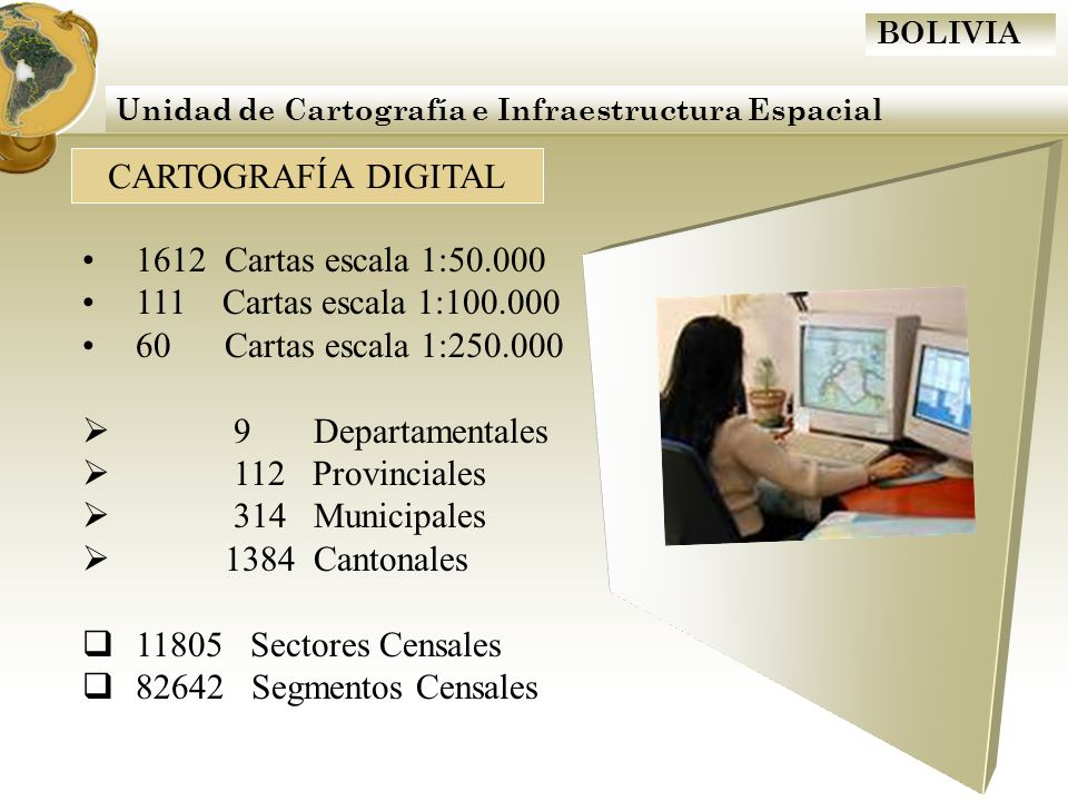 BOLIVIA CARTOGRAFÍA DIGITAL Unidad de Cartografía e Infraestructura Espacial 1612 Cartas escala 1:50.000 111 Cartas escala 1:100.000 60 Cartas escala
