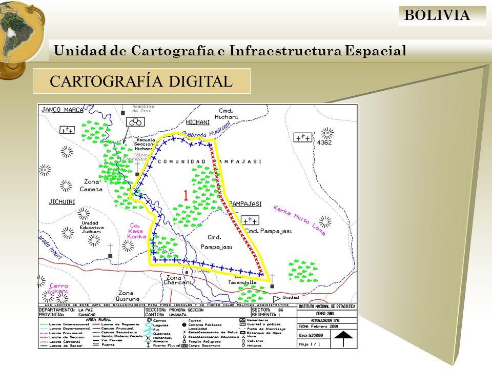 BOLIVIA Actualización Cartográfica 2009 Que tenemos como insumos Croquis levantados en campo Mapas digitales Imágenes de satélite (Google Earth) Otras imágenes