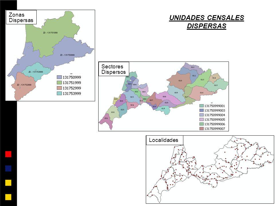 Zonas Dispersas Sectores Dispersos Localidades UNIDADES CENSALES DISPERSAS