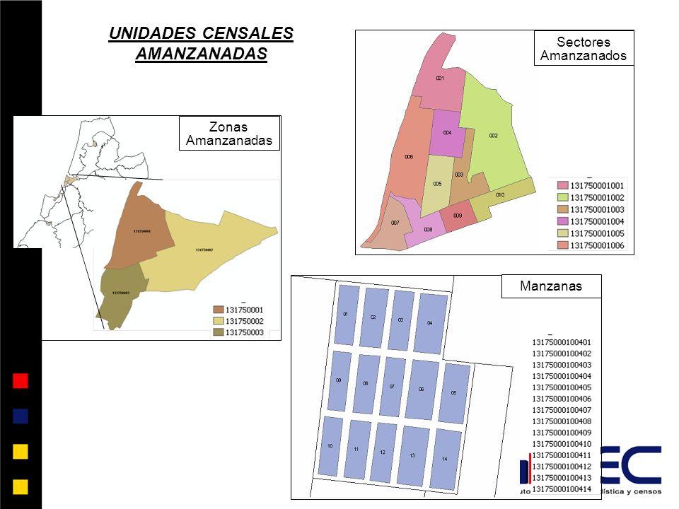 Zonas Amanzanadas Sectores Amanzanados Manzanas UNIDADES CENSALES AMANZANADAS