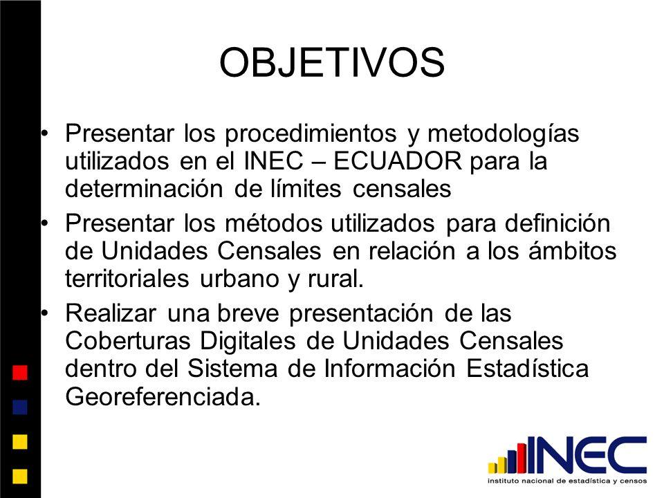 OBJETIVOS Presentar los procedimientos y metodologías utilizados en el INEC – ECUADOR para la determinación de límites censales Presentar los métodos utilizados para definición de Unidades Censales en relación a los ámbitos territoriales urbano y rural.