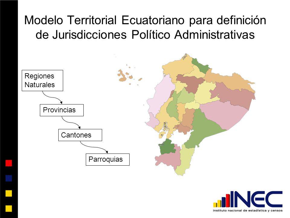 Modelo Territorial Ecuatoriano para definición de Jurisdicciones Político Administrativas Parroquias Cantones Provincias Regiones Naturales